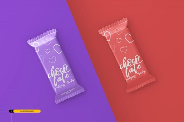 Mockup di imballaggio per snack bar al cioccolato Psd Premium