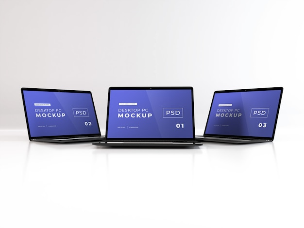 Mockup di laptop realistici Psd Premium