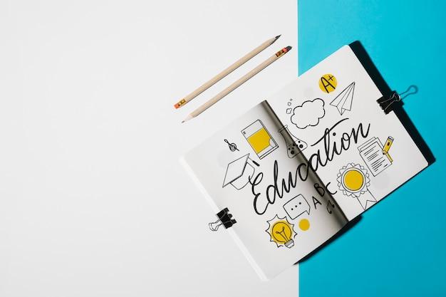 Mockup di notebook per il concetto di educazione Psd Gratuite