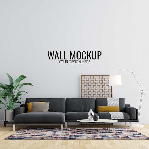 Mockup di pareti interne con mobili e decorazioni Psd Premium