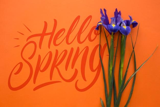 Mockup di primavera piatta laici con copyspace Psd Gratuite