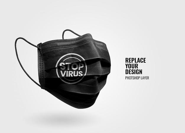 Mockup di protezione maschera nera Psd Premium