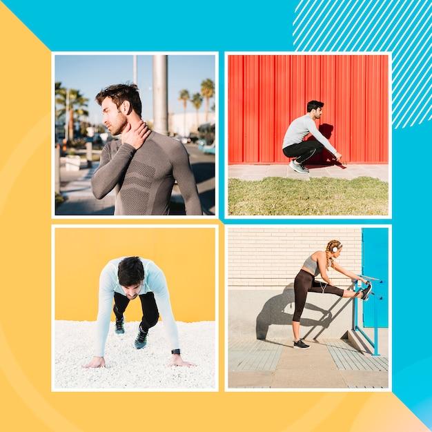 Mockup di quattro immagini con persone che praticano sport Psd Gratuite