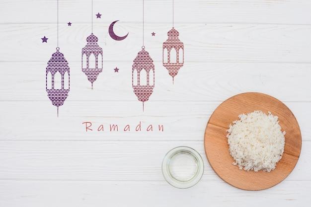Mockup di ramadan piatto laici per logo Psd Gratuite