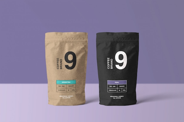 Mockup di sacchetto di caffè di carta Psd Premium