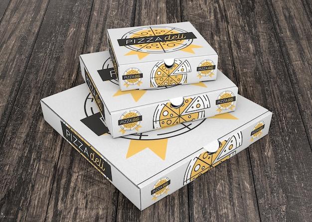 Mockup di scatola di pizza impilata Psd Gratuite