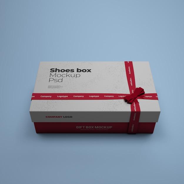Mockup di scatola di scarpe con colore di sfondo modificabile psd Psd Premium