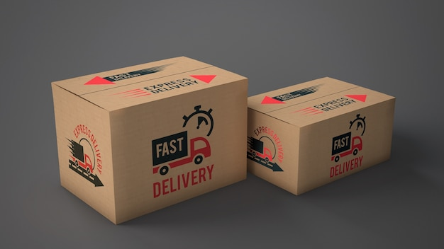 Mockup di scatole di consegna di diverse dimensioni Psd Gratuite