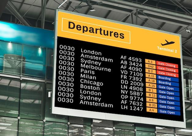 Mockup di schermo di annuncio all'aeroporto Psd Gratuite