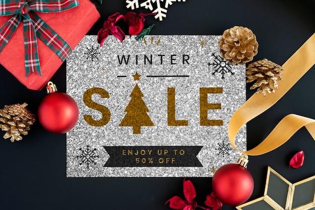 Mockup di segno di vendita di inverno di metà prezzo Psd Gratuite