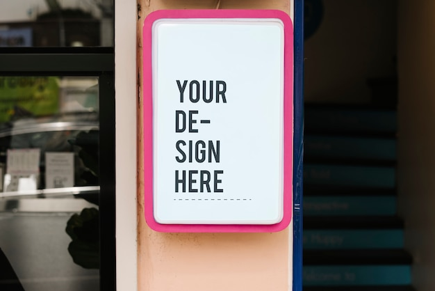 Mockup di segno negozio moderno con cornice rosa grassetto Psd Gratuite