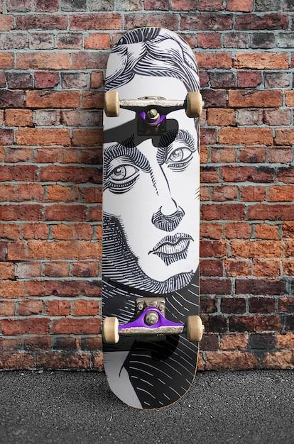Mockup di skateboard all'aperto street city Psd Premium
