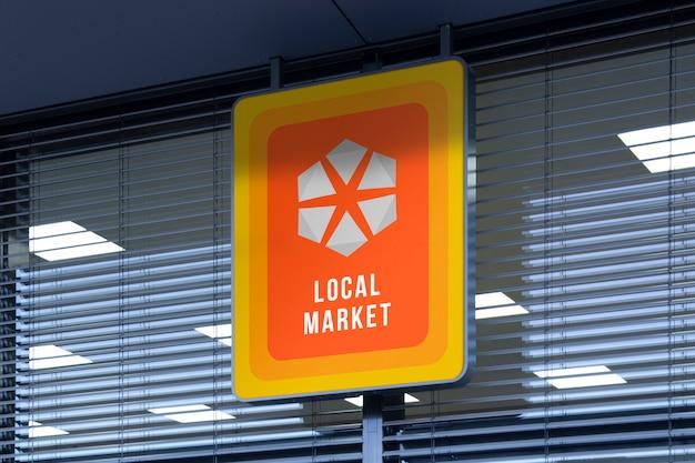 Mockup di strada all'aperto urbano logo verticale segno con angoli arrotondati all'ingresso del negozio Psd Premium