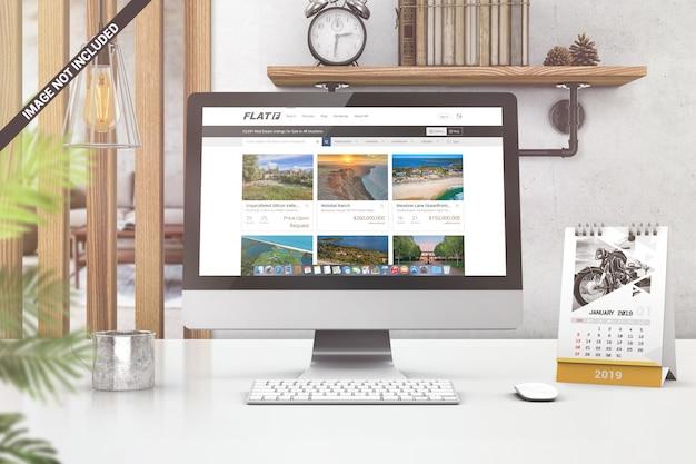 Mockup di visualizzazione frontale dello schermo del computer Psd Premium