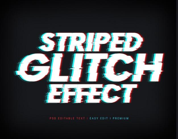 Mockup effetto testo glitch a strisce Psd Premium