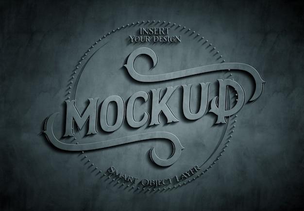Mockup effetto testo in rilievo goffrato 3d scuro Psd Premium
