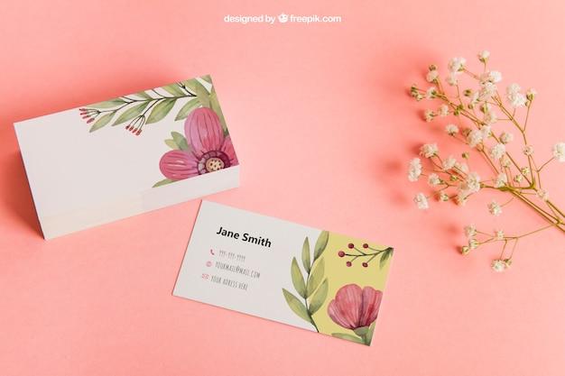 Mockup floral de tarjeta de visita Psd Gratis