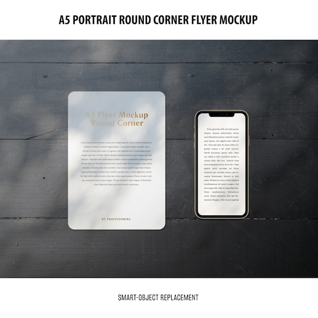 Mockup flyer ad angolo tondo a5 Psd Gratuite