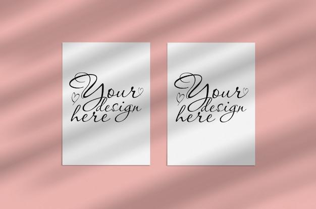 Mockup fogli di carta bianca vuota con sovrapposizione di ombra Psd Premium