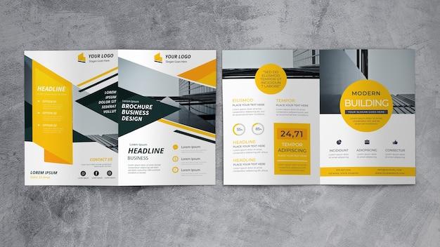 Mockup de folleto de negocios abstracto PSD gratuito