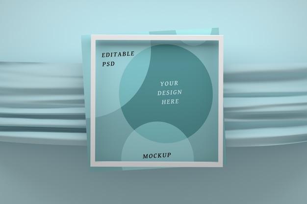 Mockup frame met blauwe stoffen doek Premium Psd