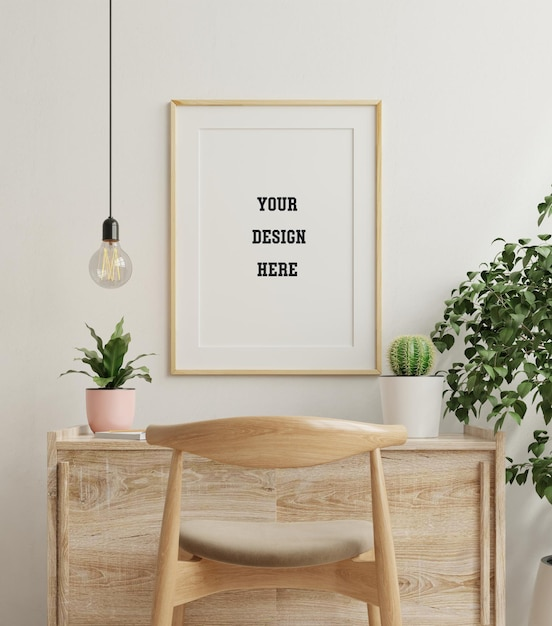 Mockup frame op houten tafel in het leven met planten Gratis Psd