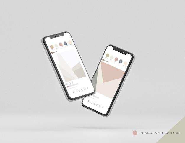 Mockup frontal mínimo de teléfonos 3d levitando PSD gratuito