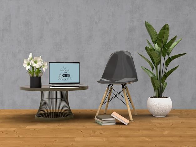 Mockup laptop met huisdecoratie in het moderne interieur van de woonkamer. Gratis Psd