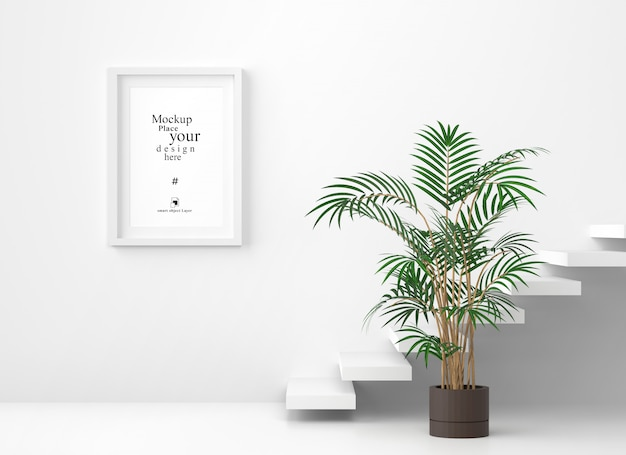 Mockup leeg fotokader op witte muurachtergrond, malplaatje psd Premium Psd