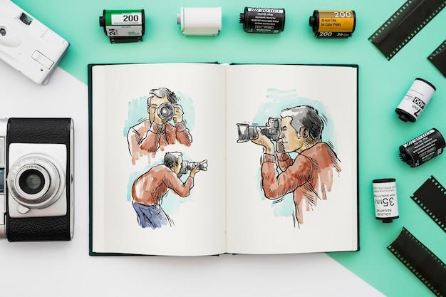 Mockup de libro abierto con concepto de fotografía PSD gratuito