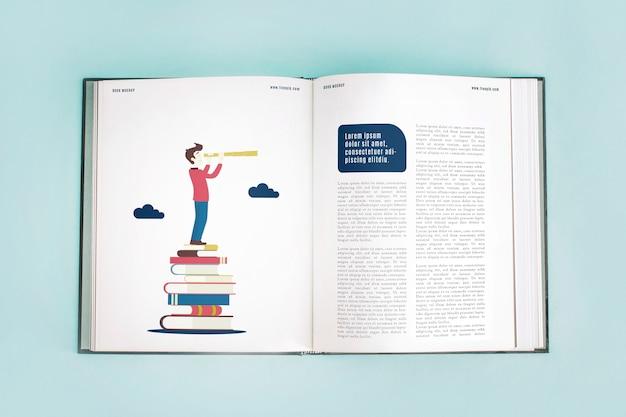 Mockup de libro abierto PSD gratuito