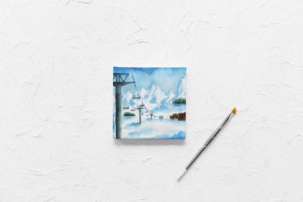 Mockup de lienzo con materiales de pintura PSD gratuito