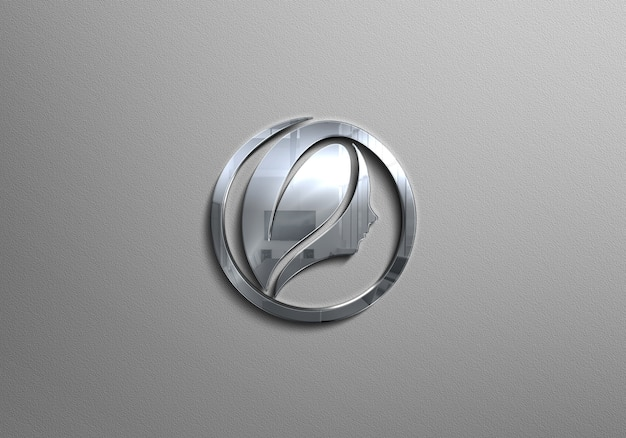 Mockup logo argento Psd Premium