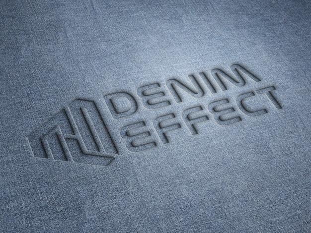 Mockup logo impresso su tessuto denim Psd Premium