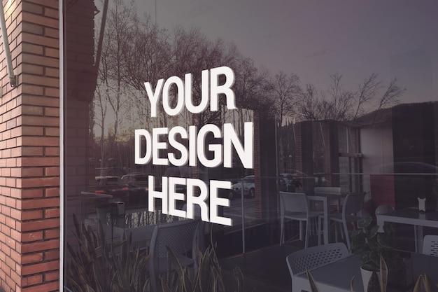 Mockup logo ristorante di vetro Psd Premium