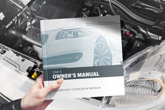 Mockup manuale quadrato con copertina morbida Psd Premium
