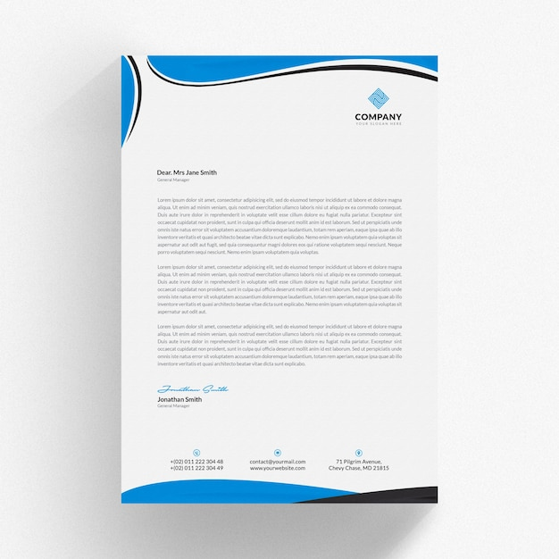 Mockup de membrete ondulado azul PSD Premium
