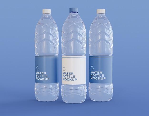 Mockup met drie plastic waterflessen Premium Psd