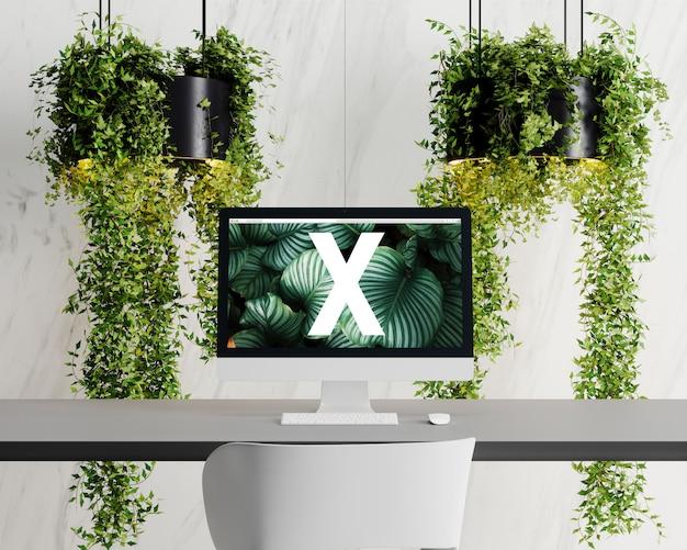 Mockup met één scherm met bloemen Premium Psd