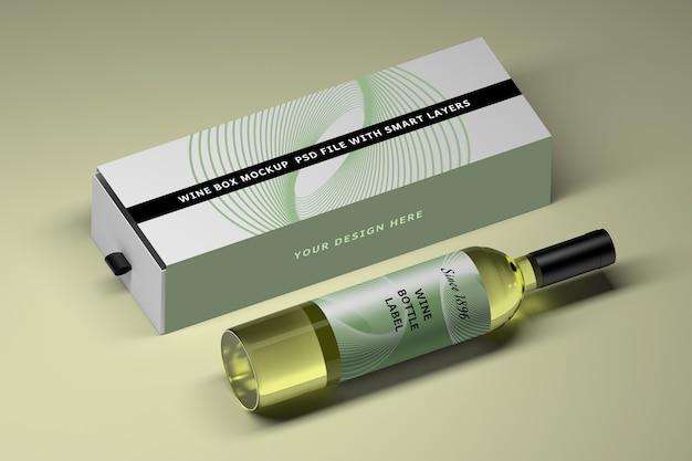Mockup met glazen wijnfles en lange doos Premium Psd