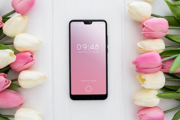 Mockup mobiel springconcept Gratis Psd