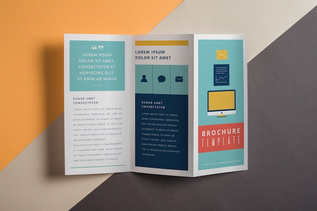 Mockup moderno de folleto tríptico PSD gratuito