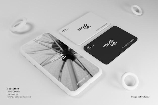 Mockup-ontwerp voor mobiel en visitekaartje Premium Psd