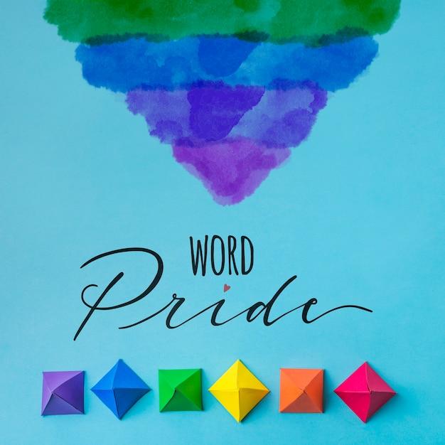 Mockup orgullo gay formas de origami PSD gratuito