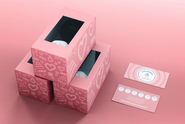 Mockup de packaging y marca de cupcakes PSD gratuito