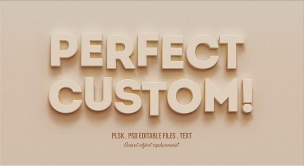 Mockup perfetto effetto testo personalizzato in 3d Psd Premium