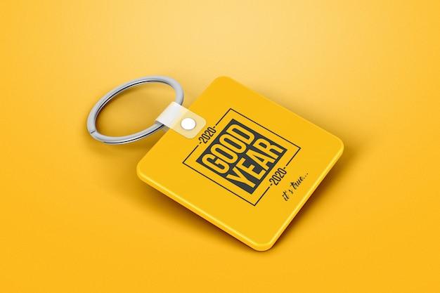Mockup portachiavi quadrato con marchio Psd Premium