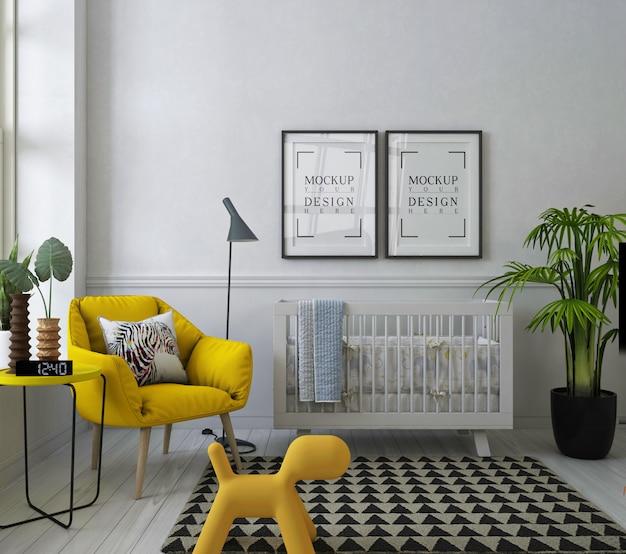 Mockup posterframe in moderne babykamer met gele fauteuil Premium Psd