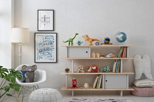 Mockup posterframes in witte speelkamer Premium Psd