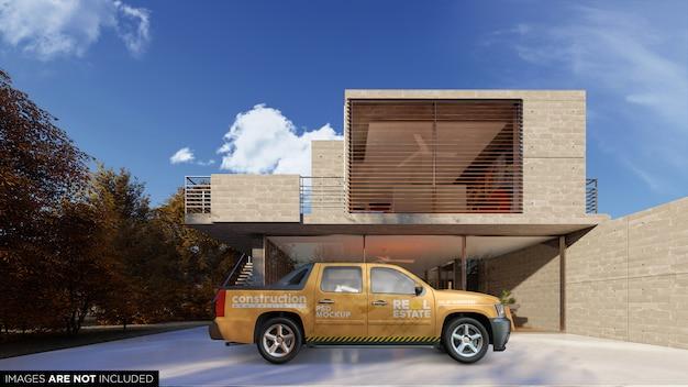Mockup psd esterno di suv van vehice davanti all'edificio Psd Premium